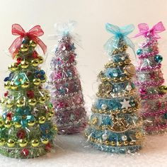 Your place to buy and sell all things handmade Cone Christmas Trees, Christmas Ribbon, Christmas Bulbs, Christmas Crafts, Miniature Trees, Paper Mache, Ribbons, Miniatures, Doll