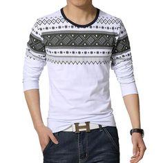 b547e2ee26 Männliches Baumwoll-T-Shirt gestreiftes langärmliges T-Shirt o Hals T-Shirt