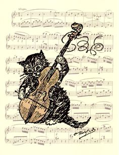 Cat Playing a Fiddle, Victorian Era Sheet Music Poster, Funny Print, Book Art, Wall Hanging, Gift, Dorm Room, Wall Decor, Pet Gift, Kitten