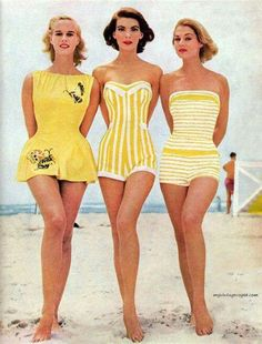And this is why the 1950's were classy and the 2000's are trashy. Because women dressed nicer to go to the beach back then than people dress to go out to dinner now. Beach, airplane, or fancy dinner - didn't matter. You always presented yourself neatly - not in your pajamas.