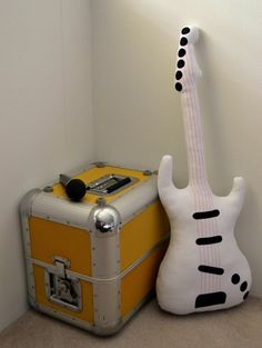 Electric Signature Guitar Pillow / Guitar Softie in White with Hot Pink Strings READY TO SHIP! Have a special event coming up? Have your gift