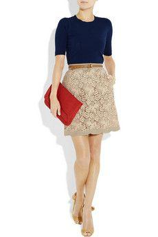 Short sleeve Sweater + Feminine Neutral Skirt