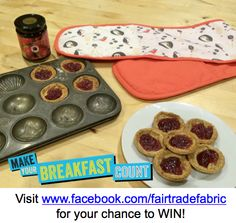Fairtrade fortnight day 10 prize, a pair of oven gloves made with our Fairtrade certified cotton fabric and some Fairtrade jam!  Win at www.facebook.com/fairtradefabric #‎fairtradefortnight #‎fairtrade #‎youeattheyeat #‎cotton