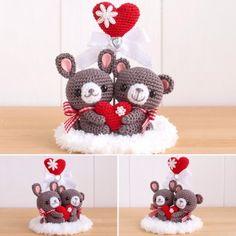 Kawaii Crochet, Love Crochet, Crochet Dolls, Crochet Flowers, Valentines Day Bears, Crochet Wreath, Crochet Wedding, Crochet Accessories, Handmade Toys
