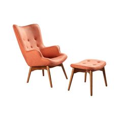 A classic addition to your living room seating group or master suite ensemble, this stylish arm chair and ottoman set showcases button tufting and peach upho...