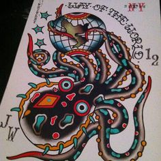 octopus tattoo flash world globe jeremy whitley - Tattoo MAG Traditional Tattoo Octopus, Traditional Tattoo Flash Sheets, Traditional Sailor Tattoos, Tattoo Traditional, Traditional Flash, Octopus Tattoo Sleeve, Kraken Tattoo, Octopus Tattoos, Tattoo Art