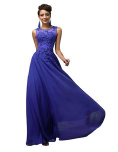 Yafex Women Prom Chiffon Long Evening Dress Blue 6