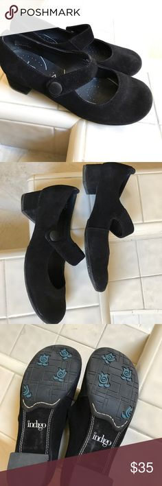 Black Indigo by Clark Mary Jane shoes Nearly new black suede-like Mary Jane's by Indigo by Clark. So cute! Indigo by Clark Shoes Heels