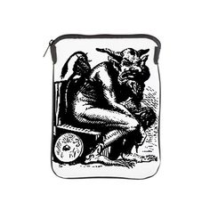 Ipad Sleeve Potty Devil black and white graphic on white