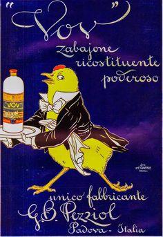 PUBB.1913 VOV ZABAIONE RICOSTITUENTE G.B. PEZZIOL PADOVA PULCINO CAMERIERE 39X28