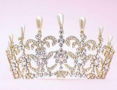 Vintage-Wedding-Bridal-Crystal-Queen-Crown-Tiara-Earrings-Jewelry-Set-Pageant