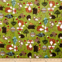 Minky Cuddle Classic Kids Forest Tails Kiwi from @fabricdotcom  Designed for Shannon Fabrics, this ultra soft and luxurious minky cuddle fabric is perfect for making ultimate minky blanket, throws, cuddly toys, lounge wear, quilt backing much more! Pile measures 3mm. Colors include brown, taupe, hunter, rust, scarlet and snow white on a kiwi background.