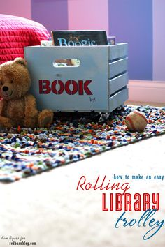 How to make a DIY Trolley or Rolling Library for your kiddo's room or playroom | easy tutorial by Kim Byers  #trolley #kidstorage #kidroom #rollinglibrary #books