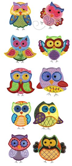 Jumbo A Hoot and a Half Applique Set 2 - embroidery patterns Owl Applique, Applique Patterns, Applique Quilts, Applique Designs, Owl Patterns, Sewing Machine Embroidery, Machine Applique, Free Machine Embroidery Designs, Hand Embroidery