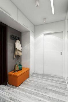 Couloire - éclairage sur le plafond. Un banc orange. Furniture, House Entrance, Tall Cabinet Storage, Home Decor, Entrance Decor, Home Entrance Decor, Home Kitchens, Cool Furniture, Storage