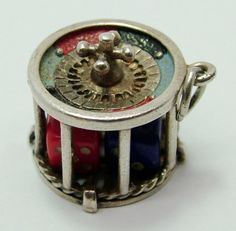 Large 1970's Silver Roulette Wheel Charm with Moving Dice Inside