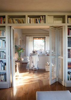 Utilizing louvered shutters as a room divider. Would be stunning if they were finished as vintage shutters. Louvered Shutters, Old Shutters, Indoor Shutters, Louvre Doors, Shutter Doors, Home Interior, Interior Doors, My New Room, French Doors