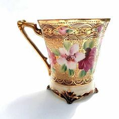 Ornate Antique Art Nouveau Pedestal Eggshell Porcelain Teacup Moriage JAPAN Hand Signed Painted Japan Gilt Water Pink Rose Flowers 1910