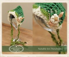 Newborns UNISEX green photography prop - crochet pixie bonnet hat by AndreasPropBoutique