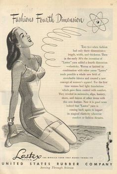 Lastex creates fashion's fourth dimension (1946). #vintage #1940s #swimsuits #summer #ads