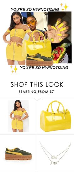 """""""yellow fever"""" by cravepinky ❤ liked on Polyvore featuring Forever 21, Furla, Puma and Charlotte Russe"""