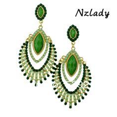 Nzlady Cute Jewelry 2013 Green Agate Shape Multicolor Earrings Beads Tassel For Women ER-015876
