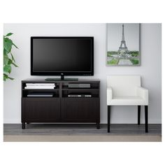 2 of these for the living room-BESTÅ TV bench with doors - walnut effect light gray/Selsviken high-gloss/white - IKEA Tv Banco, Besta Tv Bank, Soft Closing Hinges, Cool Tv Stands, Ikea Family, Plastic Foil, Tv Unit, Particle Board, Interior Accessories