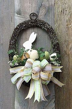 EASTER BUNNY RABBIT BASKET DOOR WREATH~BURLAP BOW~EASTER EGGS~DECORATION~NEW   Home & Garden, Holiday & Seasonal Décor, Easter & Spring   eBay!