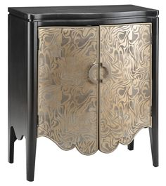 Black Accent Cabinet in Textured Gold