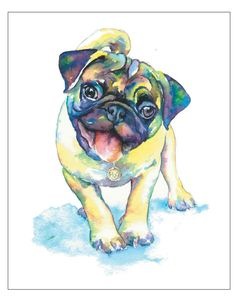 PUG fine art pet portrait print watercolor painting fawn pug Happy Yellow and Green. $15.00, via Etsy.