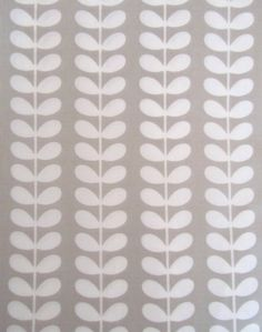 Orla Kiely Tiny Stem Print 100% Cotton Fabric - Cloud Grey & White