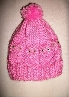 MIMOS DA MILTINHA...: Gorro de trico corujinha rosa