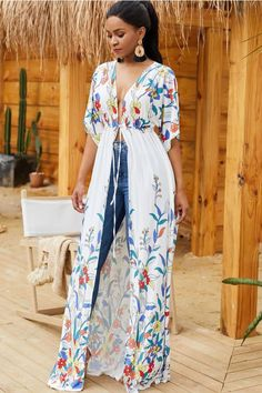White Floral Print Tied Front Casual Maxi Cover Up @ Cover Up-Beach Cover UpsBathing Suit Cover UpsSwimsuit Cover UpsSwim Cover UpsSwimwear Cover UpsBeachwear Cover UpsCover Up DressBikini Cover UpsSexy Beach Cover Ups Source by Mode Kimono, Swimwear Cover Ups, Swimsuit Cover, Long Sleeve Maxi, Dress With Cardigan, Ladies Dress Design, Half Sleeves, Fashion Prints, Cotton Dresses
