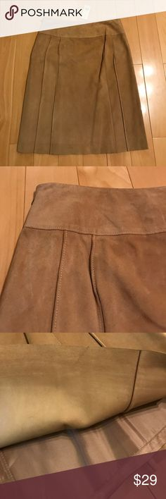 """Mid-length suede skirt NWT mid-length suede skirt (above knees for 5'3""""), very soft and smooth  leather, with lining, excellent condition with some folding/hanging marks near waist, as well as a little bit dusty near side zipper. Barely noticeable once it's on. Ann Taylor Skirts Midi"""