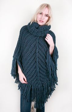 The Chevron Cowl Poncho in Lapis Blue Heather (Choose your colors!)
