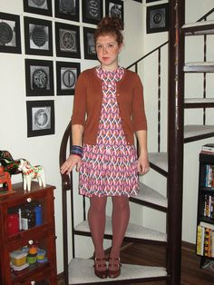 brown cardigan, bright vintage dress, bangles, brown tights, brown heels