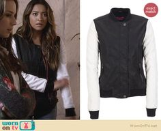 Emily's black and white bomber jacket on Pretty Little Liars. Outfit Details: http://wornontv.net/24910 #PrettyLittleLiars #fashion