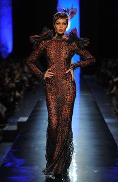 Jean Paul Gaultier, Dita Von Teese, Jeans, Runway, Victorian, Formal Dresses, Chic, Fashion, Spring Summer