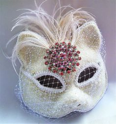 Cat Mask Pink Brooch Feathers,Masquerade Mask,Handmade Mask,Ballroom Mask Theatre Mask by IrmasElegantBoutique on Etsy