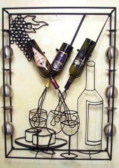Wine and glasses rack holder Metal Projects, Metal Crafts, Metal Bending, Wine Glass Rack, Wine Racks, Wine Decor, Iron Furniture, Wine Art, Wine Bottle Holders