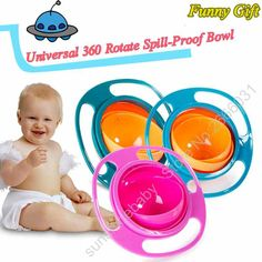 Baby Food Storage Containers Infant Feeding Toy Bowl Dishes Children Kid Baby Toy Universal  360 Rotate Spill-Proof Bowl Dishes