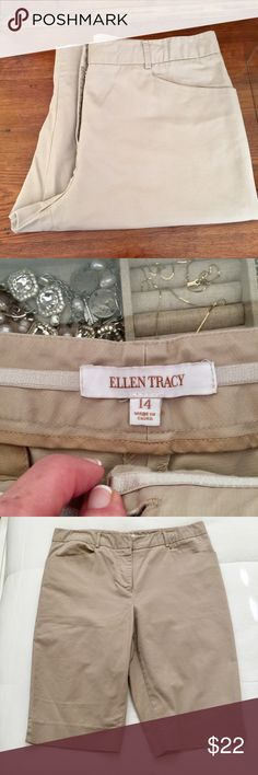 ELLEN TRACY khaki knee shorts Khaki knee shorts, very well-made with large double hook above front zipper. I'm 5'8, and these are to my knee. Worn 4-5 times. Like-new condition. Ellen Tracy Shorts