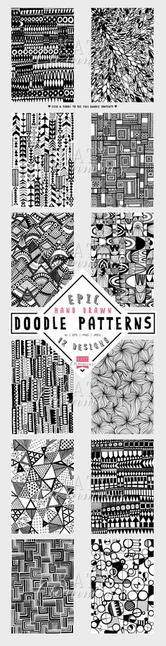 12 original, funky hand drawn doodle patterns straight from the sketchbook of Katy Clemmans! Literally days of complex, intricate doodle line art, digitised and brought to you in vector and PNG/JPEG format. Doodles Zentangles, Tangle Doodle, Zen Doodle, Doodle Art, Doodle Patterns, Zentangle Patterns, Doodle Designs, Black And White Artwork, Doodle Inspiration