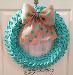 "18"" petal bubble burlap wreath, tiffany blue burlap, shabby chic wreath,anytime wreath, metallic poka dot wreath on Etsy, $73.00"