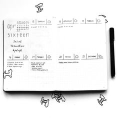 Bullet journal weekly layout,  daily weather tracker.  | @theelephanysmemory