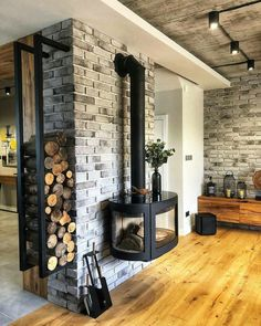 Perfect way to store your logs for the wood burner whilst also using them for decoration!… Woodworking for beginners Loft Design, House Design, Home Fireplace, Brickwork, Elle Decor, Home Living Room, My Dream Home, Home Deco, Luxury Homes