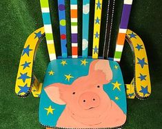 Folding Chairs With Padded Seats Painting Kids Furniture, Funky Painted Furniture, Personalized Kids Chair, Desk Chair, Youth, Ikea Chairs, Handmade Gifts, Folding Chairs, Desks