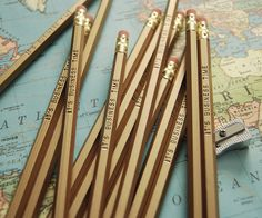 It's Business Time Pencil 6 Pack in Gold with Black. $8.50, via Etsy.