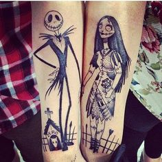 Nightmare Before Christmas Tattoo idea for an edgy couple.
