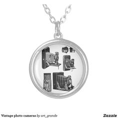 Vintage photo cameras round pendant necklace
